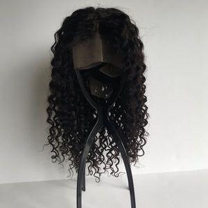 Deep curl fake scalp 18 inches human hair wig